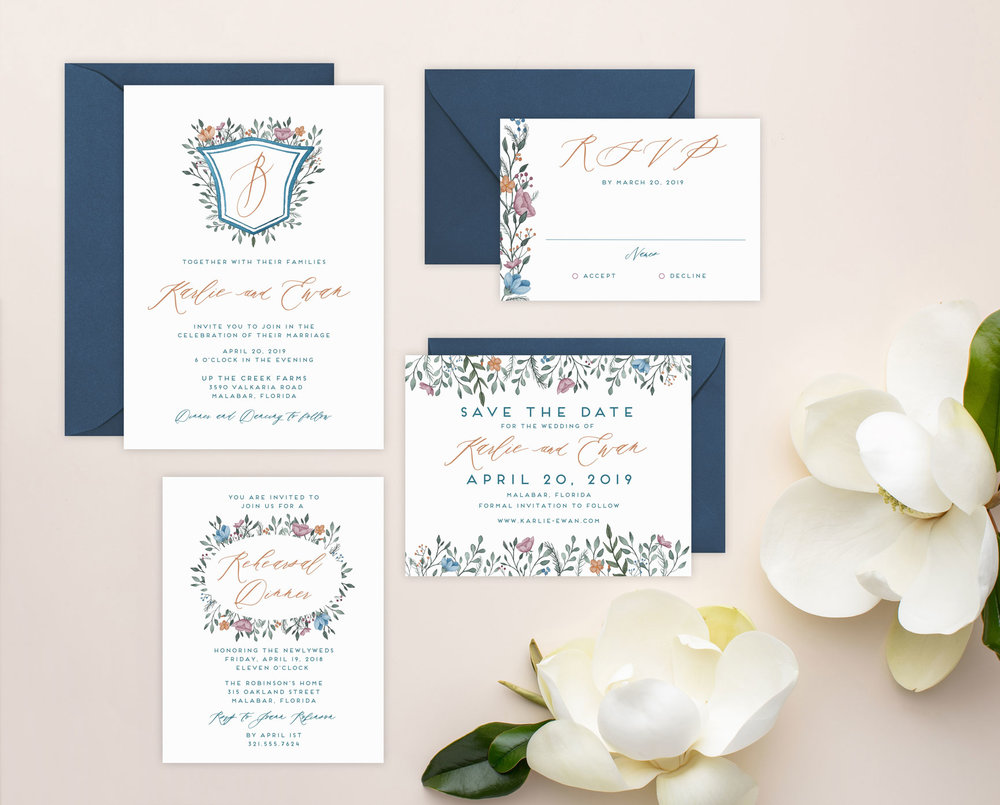 Karlie-Invitation-Suite---Watercolor-Crest,-Monogram,-Watercolor-Flowers,-Blue-and-Copper.jpg