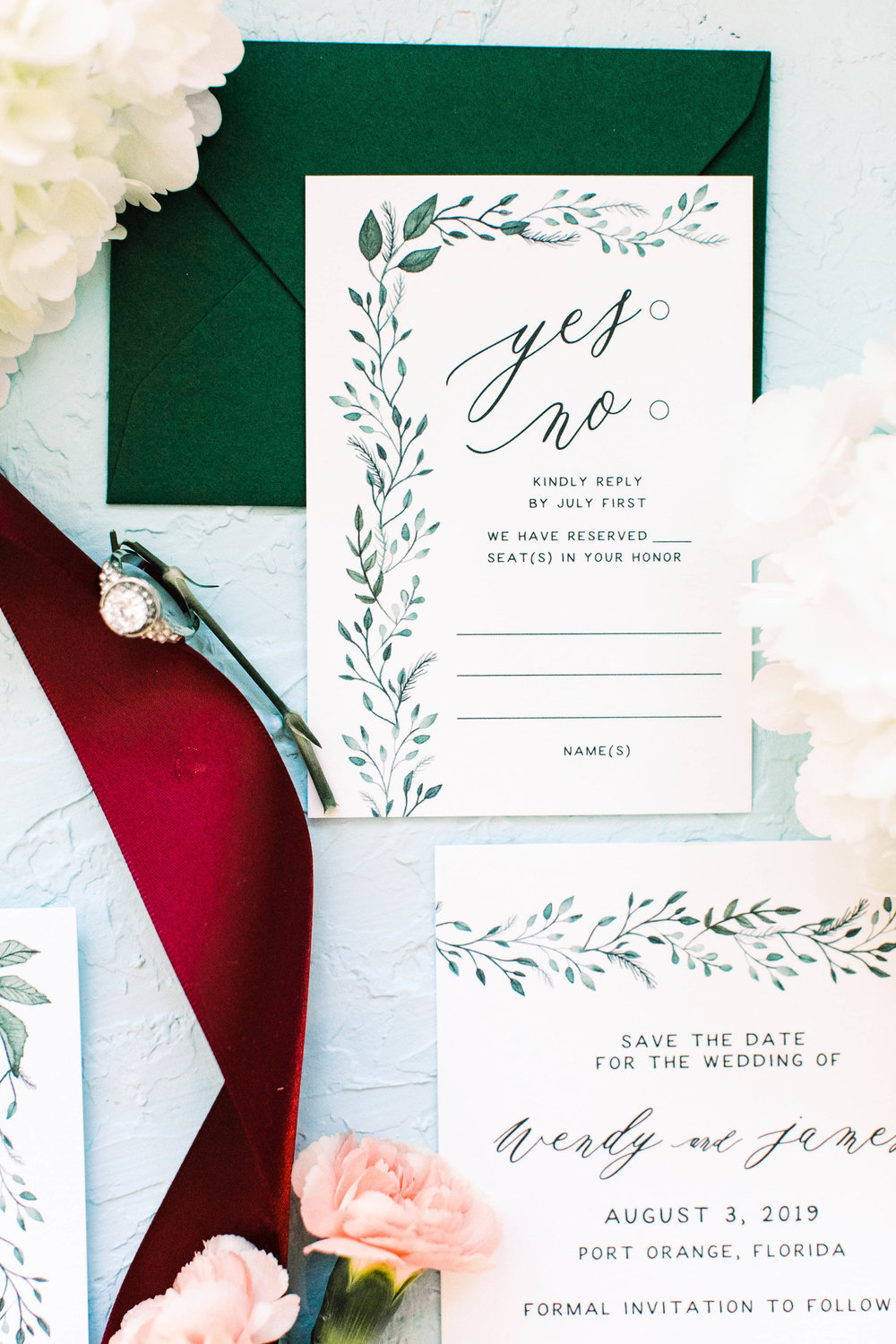 Hand Painted Watercolor Greenery Wedding Invitations -Wendy 3W2A0290.jpg