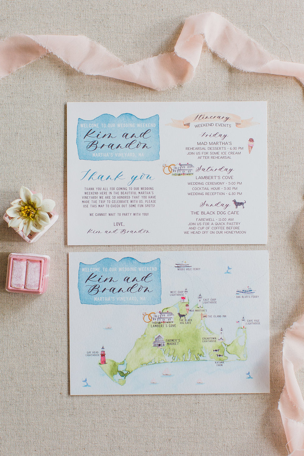 Watercolor Map - Custom Wedding Invitations - Feathered Heart Prints - Martha's Vineyard Massachusetts