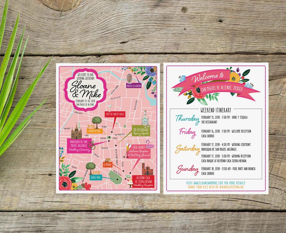 San Miguel de Allende Custom Wedding Map - Feathered Heart Prints