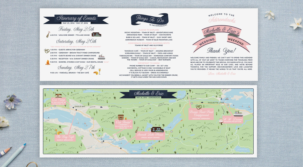 Adirondacks wedding map trifold style by Feathered Heart Prints