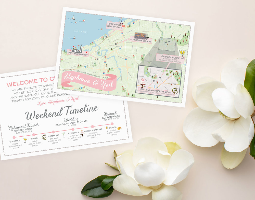 Cleveland Ohio Glidden House Wedding Map - Feathered Heart Prints