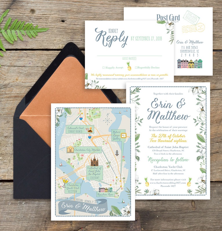 Charleston South Carolina Wedding Map and Invitation Suite - Feathered Heart Prints