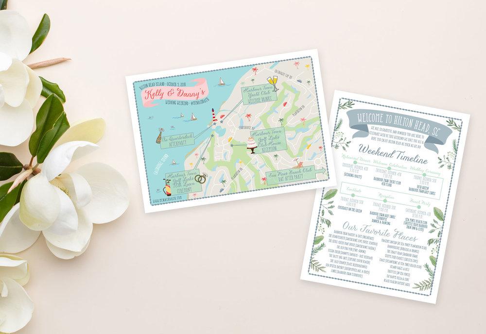 Hilton Head Island Wedding Map - Feathered Heart Prints