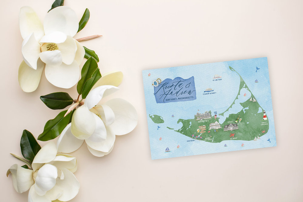 Watercolor Wedding Map - Nantucket Destination Wedding - Feathered Heart Prints