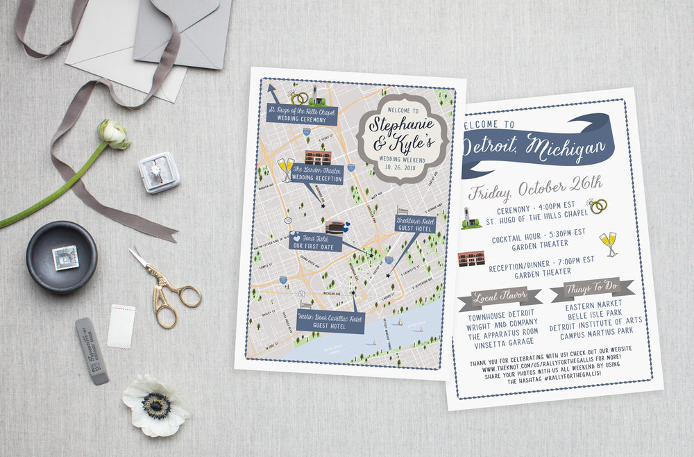 Detroit Michigan Wedding Map - Feathered Heart Prints