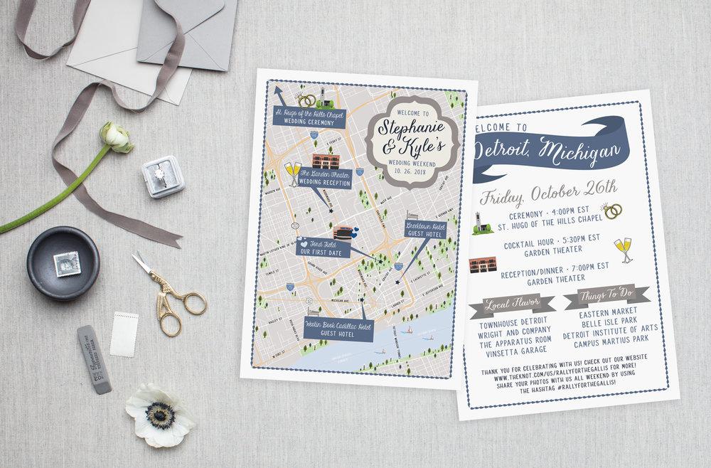 Detroit Michigan Wedding Map - Feathered Heart Prints