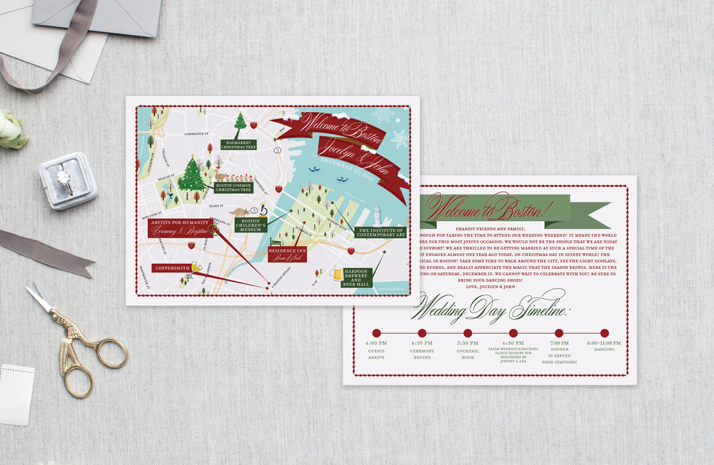Boston Christmas Wedding Map - Feathered Heart Prints