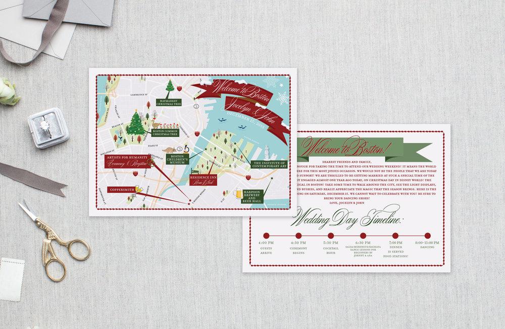 Boston Christmas Wedding Map - Feathered Heart Prints