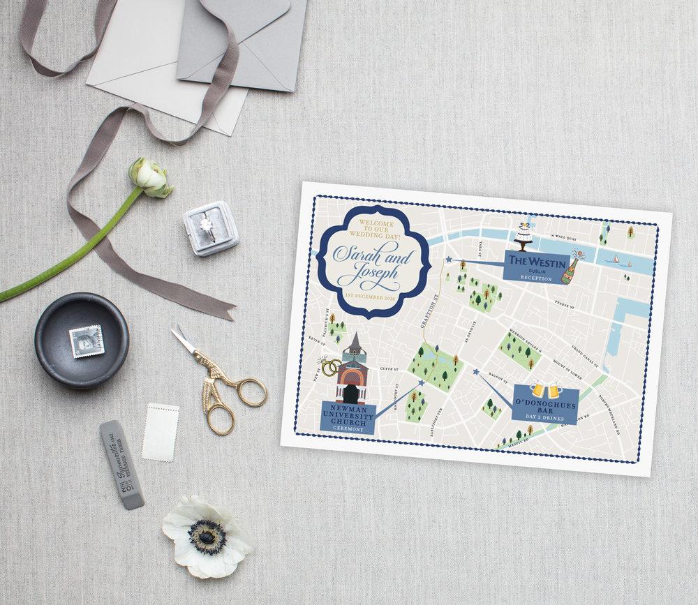 Dublin Ireland Wedding Map - Feathered Heart Prints