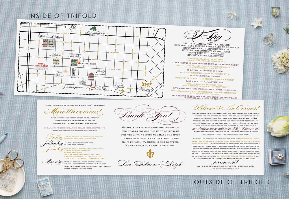 New Orleans Folded Map - Line art style custom map - Feathered Heart Prints