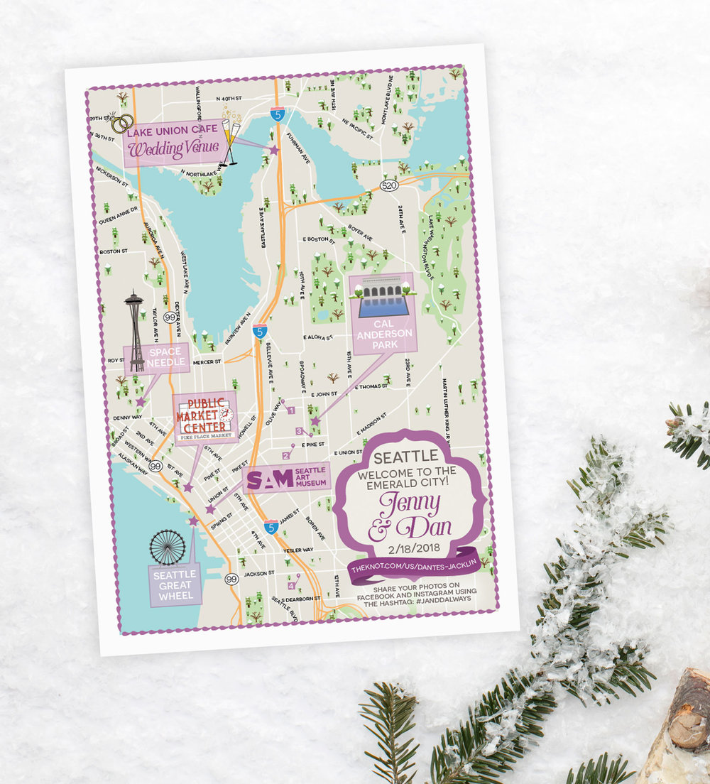 Seattle Washington Wedding Map by Feathered Heart Prints
