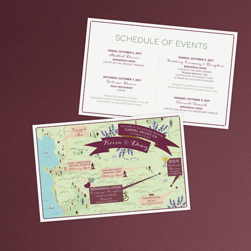 Carmel Valley California Wedding Map by Feathered Heart Prints