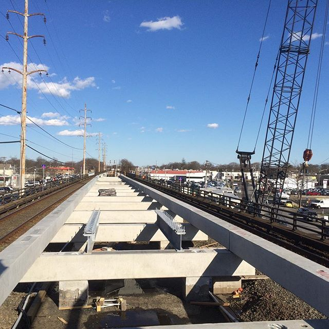 Precast beam installation for Phase One at Wantagh Train Station complete.