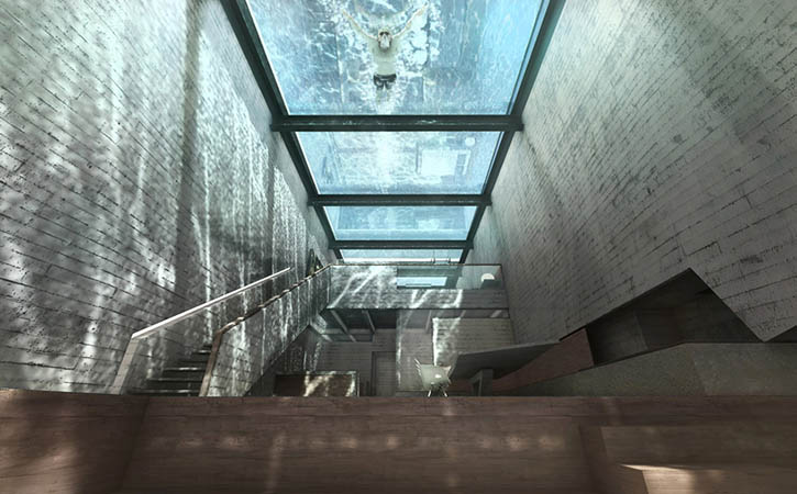 Casa Brutale, Cliffside House, Glass Ceiling, Pool
