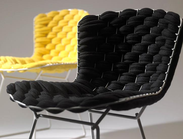 Clément Brazille, Bertoia Chair, custom vintage chair, woven chair