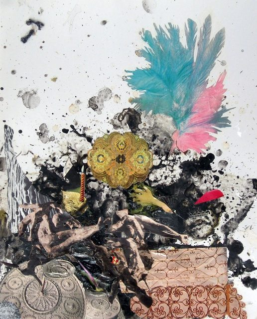 Lisa Rybovich Cralle, Splatter Paint, Painting, Collage, Ink Painting