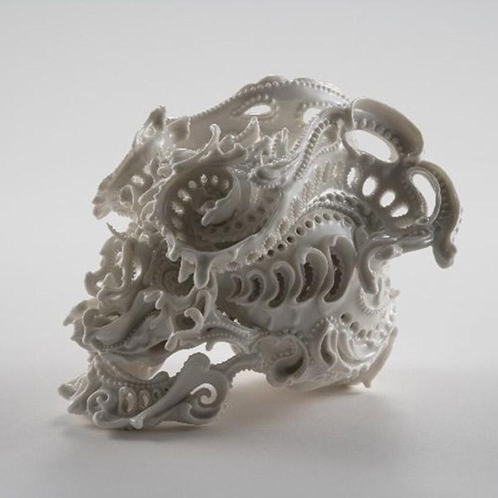 Katsuyo Aoki, ceramic skulls, Skull Sculpture, Skull ornament