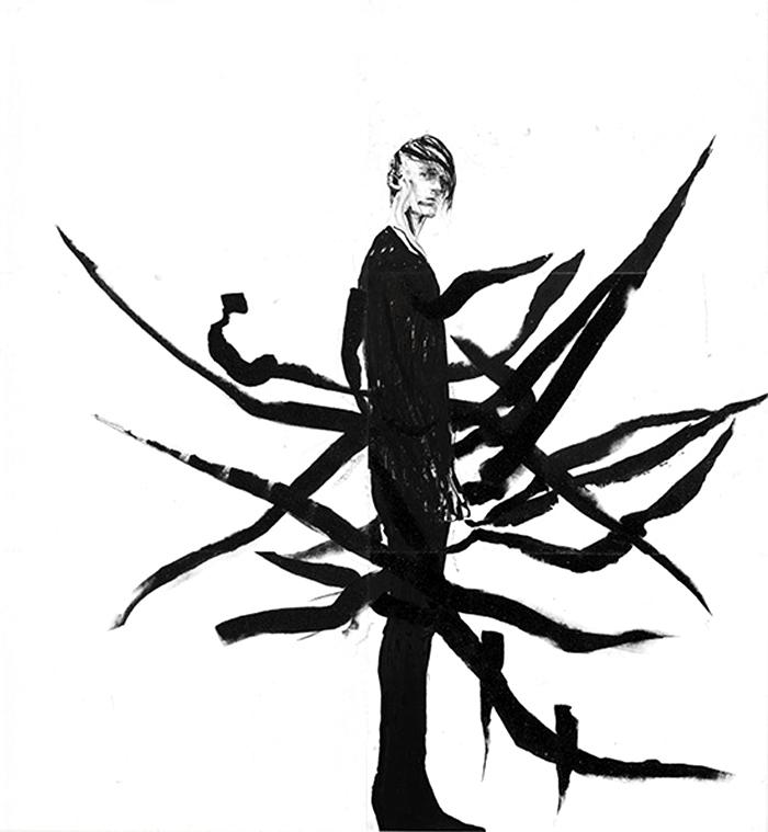 Robert Knoke, Multimedia, Fashion Portraits, Gareth Pugh Portrait, Illustration