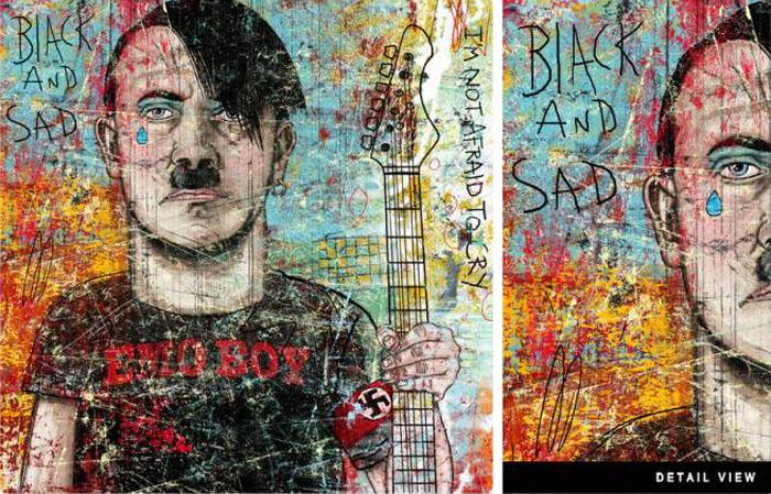 Dustin Parker, Digital illustration, Hitler, Hipster Hitler, Graffiti