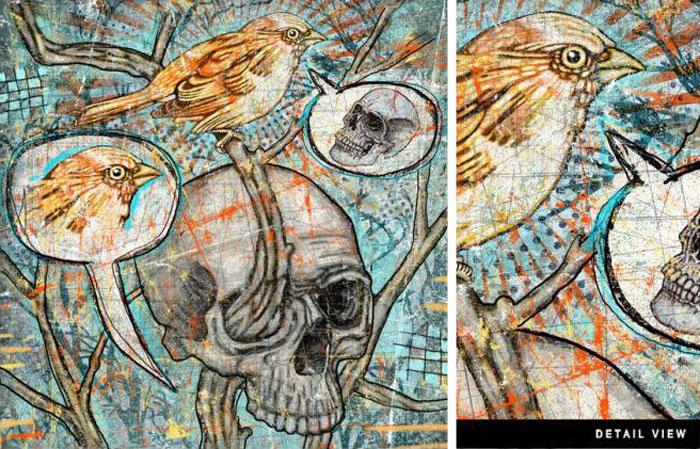 Dustin Parker, Digital illustration, Skull, Graffiti