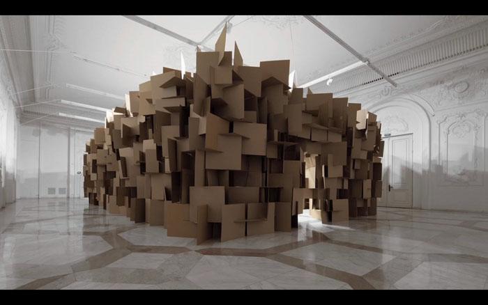 Cardboard Rain, Zimoun, Hannes Zweifel, Cardboard art, sculpture, installation, rain simulator