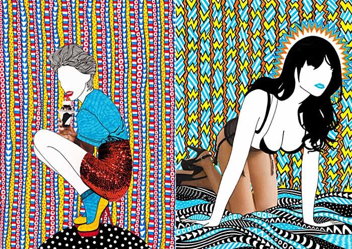 Nikki Farquharson, fashion illustration, mixed media, girl