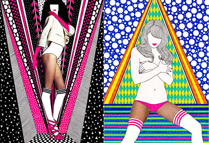 Nikki Farquharson, fashion illustration, mixed media, girl, digital collage,