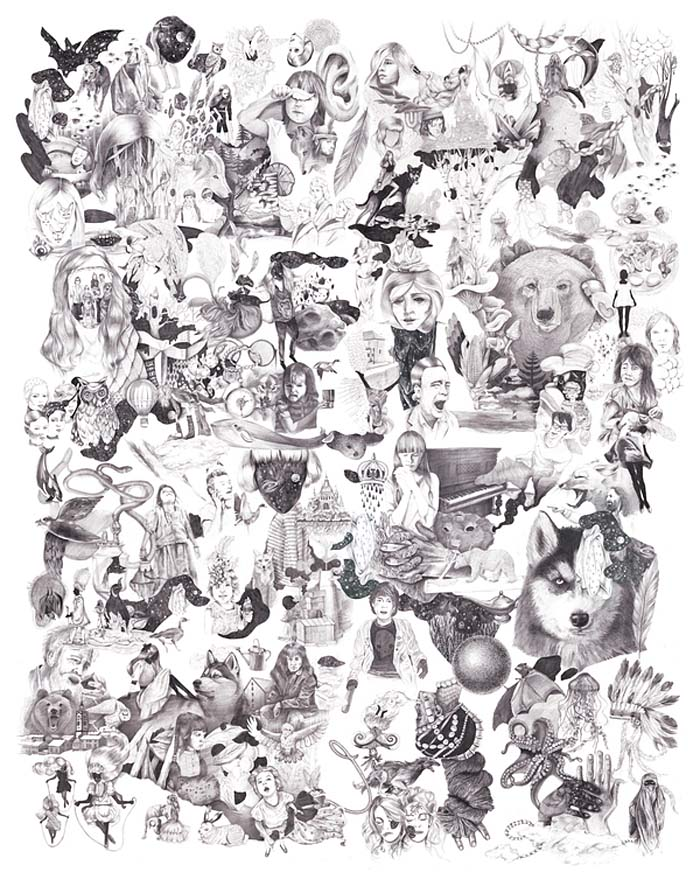 Dopludo Collective, Captured Dreams, Drawing Collage, Drawing your dreams, art on pillow