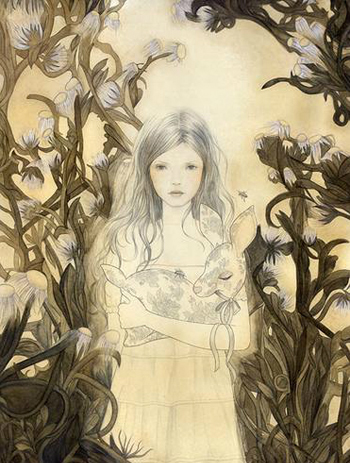 Melissa Haslam, fashion illustration, drawing on wood, beauty, hair, fairytale illustration