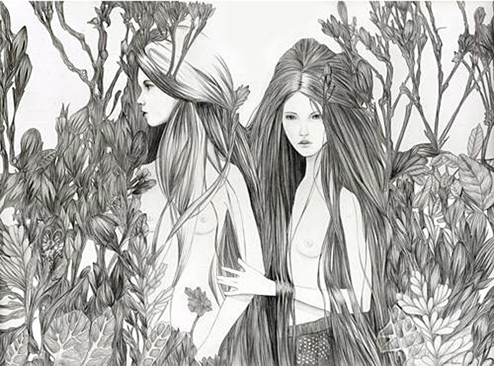 Melissa Haslam, fashion illustration, drawing on wood, beauty, hair, fairytale illustration