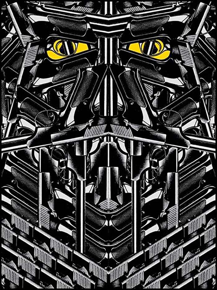 Rob Jones, guns, graphic design, posters, glow in the dark, darth vador, dead weather