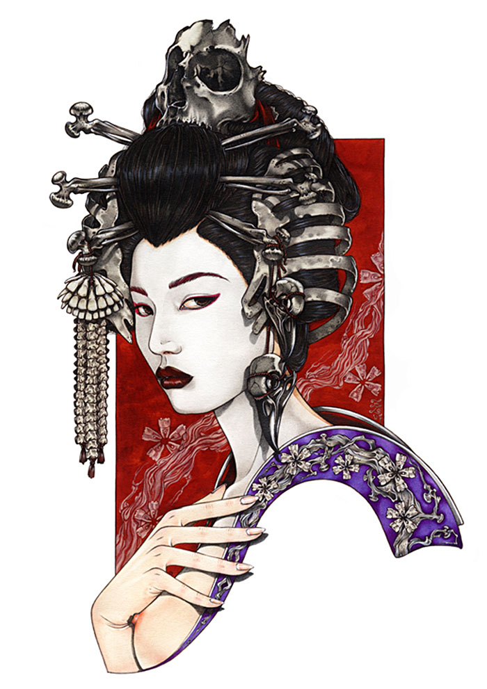 Zoe Lacchei, fashion illustration, beauty, hair, geisha, illustration