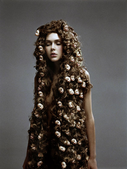 Phillip Toledano, fashion photography, manipulated, fantasy, baby dolls, hair, rapunzel, graphic, shocking photography