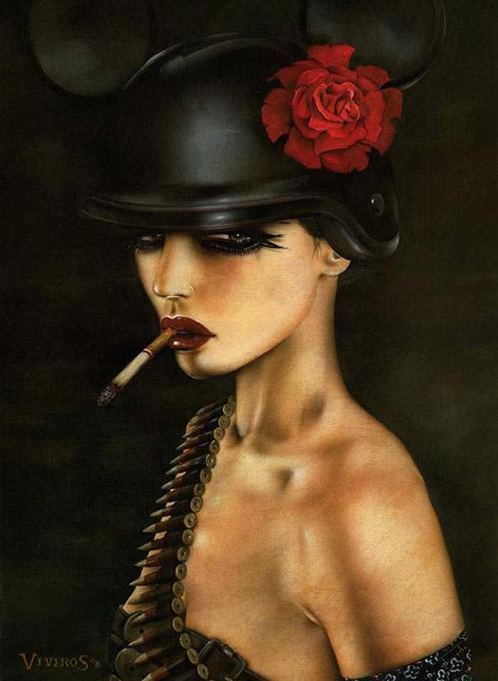 Brian M. Viveros, fetish, beauty, painting, vintage, pinup, cigarettes