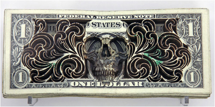 Scott Campbell, money art, laser cut, paper art, skull