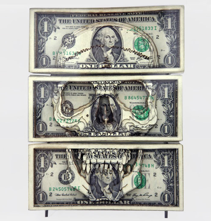 Scott Campbell, money art, laser cut, paper art