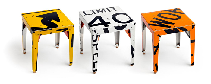 Boris Bally, Street Sign Chairs, upcycled furniture
