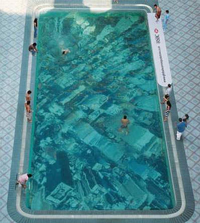 Pool with printed bottom, city at bottom of pool, Global Warming Pool, Pool Design, Ogilvy, Mather Mumbai, HSBC
