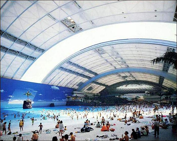 Indoor beach, Ocean Dome, Real life biodome, retractable roof