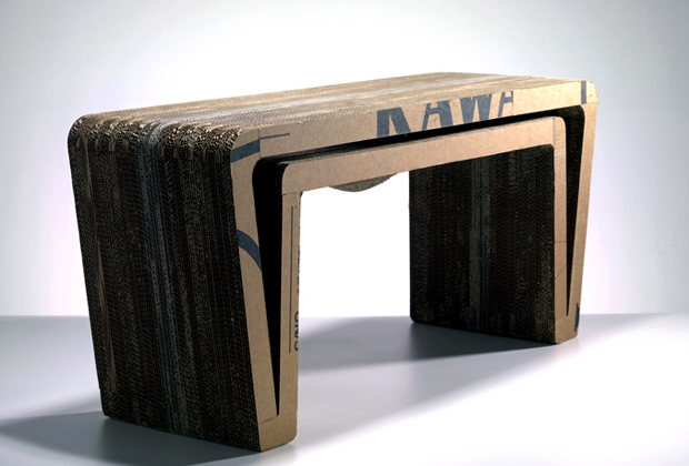 Cardboard Furniture, Henry Pilcher, Table, bench