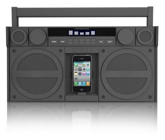 Ihome, ip4, boombox, iphone speakers, bluetooth speakers, matte black
