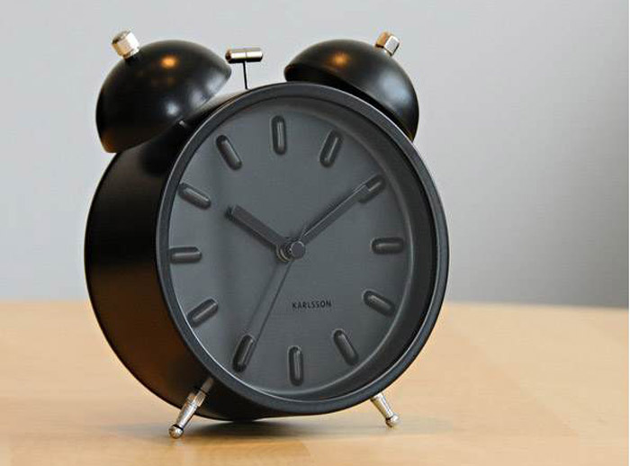 Black clock, alarm clock, matte black
