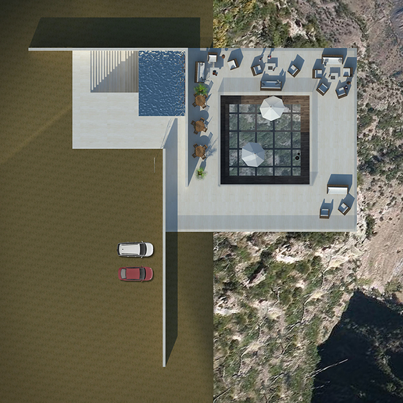 Cantilevered Restaurant, cliffside, architecture, minimal design, building hanging off cliff