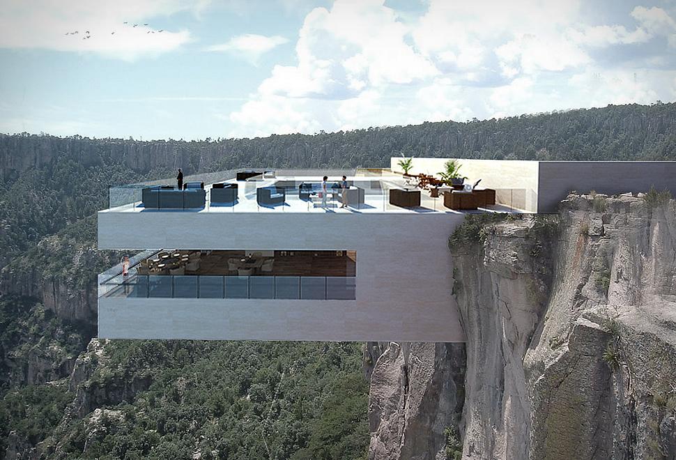 Cantilevered Restaurant, cliffside, architecture, minimal design