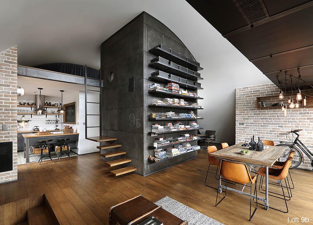 Loft 9b, rustic interior design