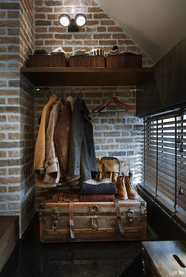 Loft 9b, rustic interior design, closet