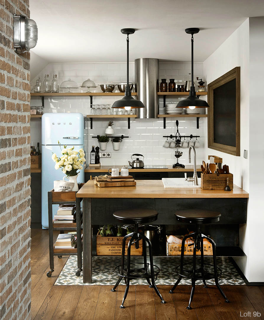 Loft 9b, rustic interior design, kitchen