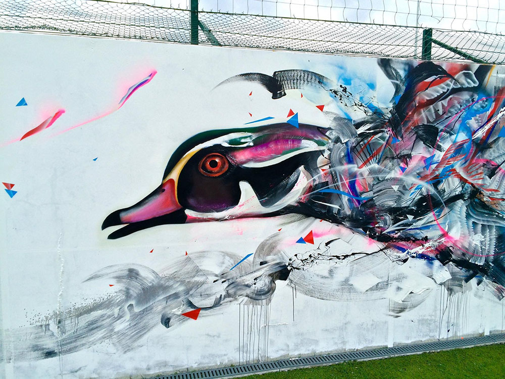 L7M, STREET ART, Graffiti Birds, duck