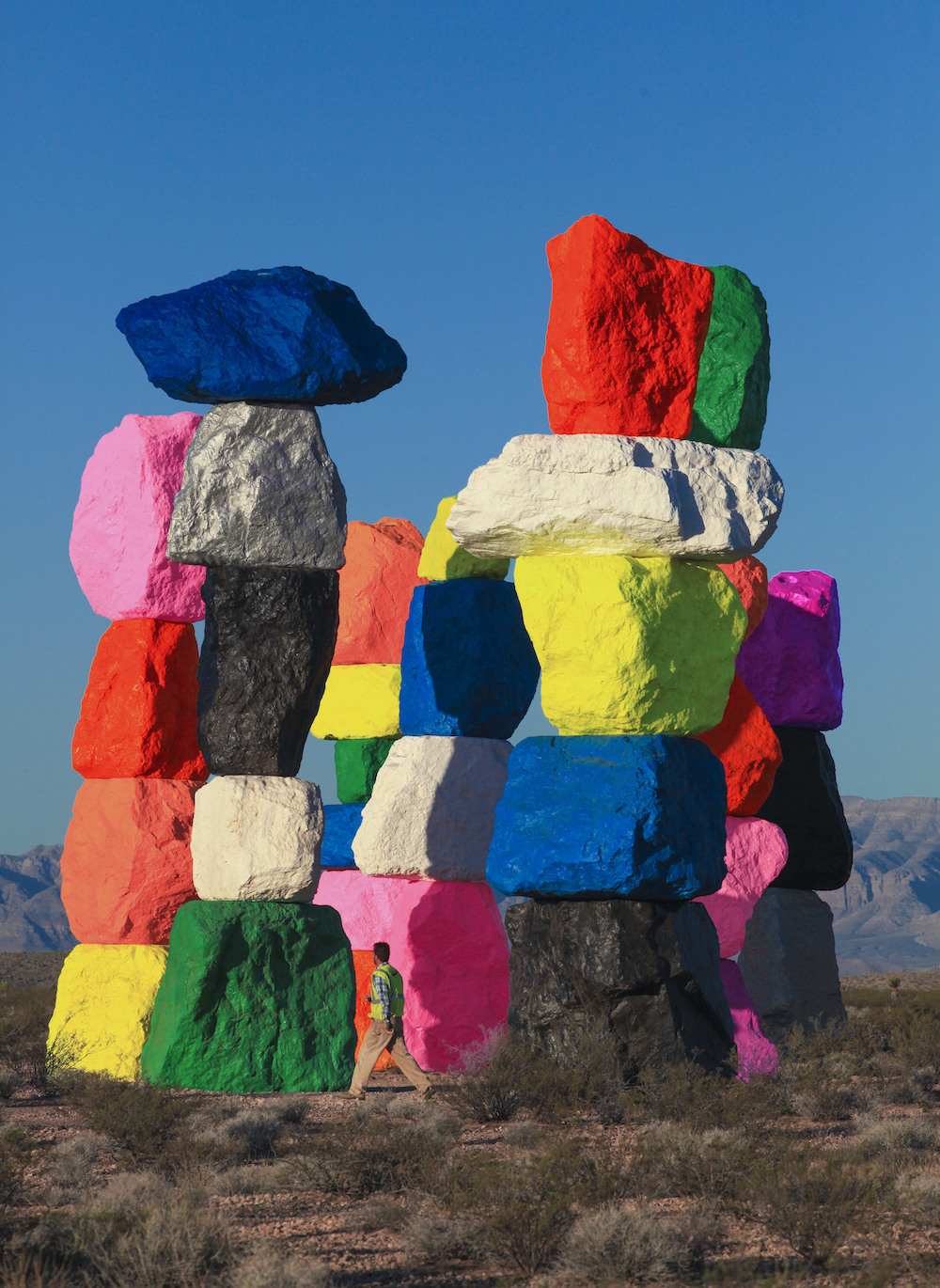 Ugo Rondinone, Seven Magic Mountains, Colored Rocks, Desert, Sculpture